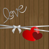 greeting card inscription love background with wooden planks. Two hearts hanging on a silver ribbon with bow. vector, illustration vector illustration