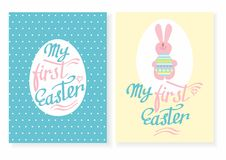 Greeting card with the inscription - my first Easter. Easter rabbit with egg. Template Easter greeting card Stock Images