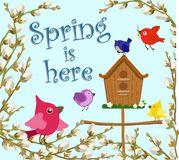 Greeting card with the inscription Spring is here. Vector illustration. Colored vector spring postcard with inscription, birds, birdhouse, willow branches Royalty Free Stock Photos