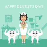 Greeting card. International day of the dentist. Festive illustration. Dentist doctor with a bouquet of flowers.. Greeting card. International day of the Royalty Free Stock Image