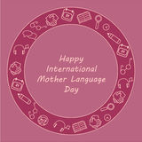 Greeting card for International Mother Language Day with thin line icons in circle. Vector illustration. Royalty Free Stock Image