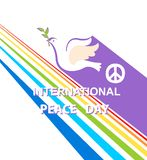 Greeting card for International Peace day with dove, peace symbol and rainbow Royalty Free Stock Photos