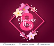 Greeting card for International Women`s Day. Royalty Free Stock Images