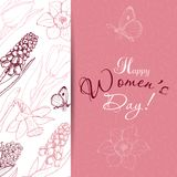 Greeting card for International Women`s Day celebration. Vector illustration for your design Stock Photography