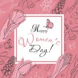 Greeting card for International Women`s Day celebration. Vector illustration for your design Stock Photos