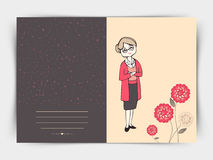 Greeting card for International Womens Day celebration. International Womens Day celebration post card design decorated with flowers on grey background Royalty Free Stock Photo