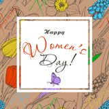 Greeting card for International Women`s Day celebration. Vector illustration for your design Stock Photo