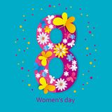 Greeting card With international Women`s day with number eight w. Bright greeting card With international women`s day number eight, decorated with flowers and Stock Illustration