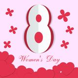 Greeting card for International Women`s Day. Paper cut red hearts and flowers on a pink background. Happy Mothers Day. Eps10 vector illustration Stock Image