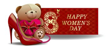 Greeting card for International Womens Day. Greeting card for Womens Day. March 8. Womens holiday. Festive banner design with cute Teddy bear for girls and women Royalty Free Stock Images