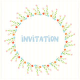 Greeting card or invitation with flower circle Royalty Free Stock Photography