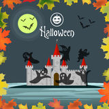 Greeting card or invitation Halloween. Silhouette pumpkins, ghosts and bats are flying over the castle at night. Royalty Free Stock Image