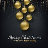 Greeting card, invitation with happy New year 2018 and Christmas. Metallic gold Christmas balls, decoration, shimmering, shiny confetti on a black background Royalty Free Stock Image