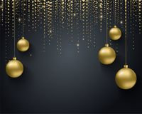 Greeting card, invitation with happy New year 2018 and Christmas. Metallic gold Christmas balls, decoration, shimmering. Shiny confetti on a black background Royalty Free Stock Photos
