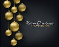 Greeting card, invitation with happy New year 2018 and Christmas. Metallic gold Christmas balls, decoration, shimmering. Shiny confetti on a black background Stock Images