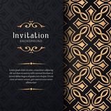 Greeting card invitation with lace and floral ornaments, Gold ornamental pattern background illustration, royalty free illustration