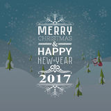 Greeting card or invitation Merry Christmas and happy new year 2017 with Santa claus and bag with gifts. Vector illustration flat style Stock Photo