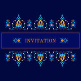 Greeting card, invitation with oiental pattern. Greeting card, invitation with oriental pattern, arabesque and floral elements. Vector illustration Royalty Free Stock Photo