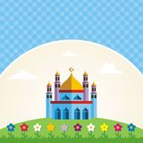 Greeting Card - Islamic cartoon mosque and flower Stock Image