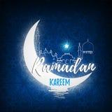 Greeting card for Islamic holy month of prayers, Ramadan Kareem celebrations. Royalty Free Stock Image