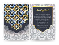 Greeting card with islamic pattern. vector illustration