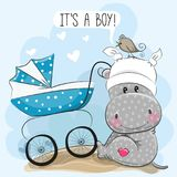 Its a boy with baby carriage and Hippo. Greeting card its a boy with baby carriage and Hippo Stock Image