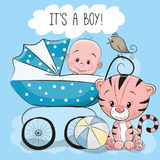 Greeting card its a boy with baby carriage Royalty Free Stock Images