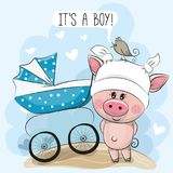 Greeting card its a boy with baby carriage and Piggy. Greeting card its a boy with baby carriage and Cute Piggy Stock Photos