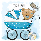 Greeting card its a boy with baby carriage Royalty Free Stock Photos