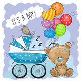 Greeting card its a boy with baby carriage Stock Image