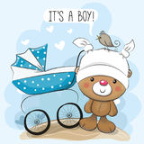 Greeting card its a boy with baby carriage Royalty Free Stock Image