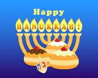 Jewish holiday of Hanukkah. Greeting card for jewish holiday of Hanukkah, hanukkah menorah - traditional candelabrum, sufganiyot doughnuts on blue background