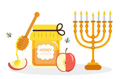 Greeting card for the Jewish New Year Rosh Hashanah, Shana Tova. Rosh Hashanah greeting card. Honey and apples, menorah.  Stock Photography