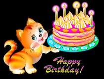 Greeting card with joyful kitten holding a cake. Royalty Free Stock Image