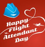 Card day flight attendant. Greeting card. July 12, the world day of flight attendant. Vector illustration for banner, girl stewardes stock illustration