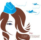Greeting card girl stewardess. Greeting card. July 12, the world day of flight attendant. Vector illustration for banner, girl stewardes stock illustration