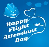Card day flight attendant. Greeting card. July 12, the world day of flight attendant. Vector illustration for banner, girl stewardess Royalty Free Illustration
