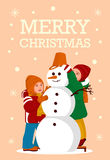 Greeting Card Kids build a Snowman Merry Christmas Party - Vector flat design Stock Photography