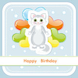 Greeting card with a kitten and balloons Stock Photography