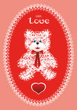 Greeting card with knitted bear Royalty Free Stock Photography