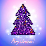 Greeting card with lace christmas tree Royalty Free Stock Photo