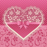 Greeting card with lace heart Stock Image