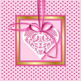 Greeting card with a lace heart on a satin ribbon. Vector greeting card for Valentines Day, wedding or birthday with a lace heart on a satin ribbon Stock Images