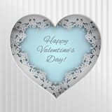 Greeting card with laced heart. Blue heart illustration laced with hearts, lips and cupid`s arrow frame on striped background for valentines day greeting card royalty free illustration
