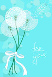 Greeting card with lacy dandelions Royalty Free Stock Image