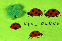 Greeting card with ladybirds and cloverleaf Royalty Free Stock Image