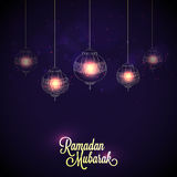 Greeting card with Lamps for Ramadan celebration. Royalty Free Stock Photo
