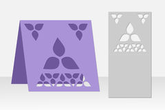 Greeting card laser cutting. Silhouette design. Pattern. Stock Photo