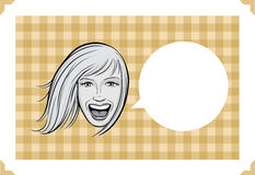 Greeting card with laughing woman. Greeting card - sarcastic meme layered  illustration. Personalize it with your own humorous message Stock Photography