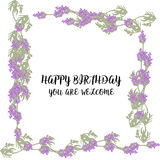 Greeting card with Lavender field and bouquet. Violet Royalty Free Stock Images